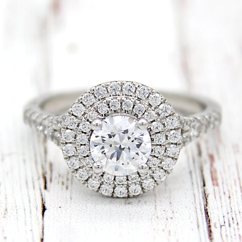 1.50 TCW Double Halo Engagement Ring