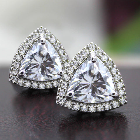 Halo Trillion Solitaire Stud Earrings