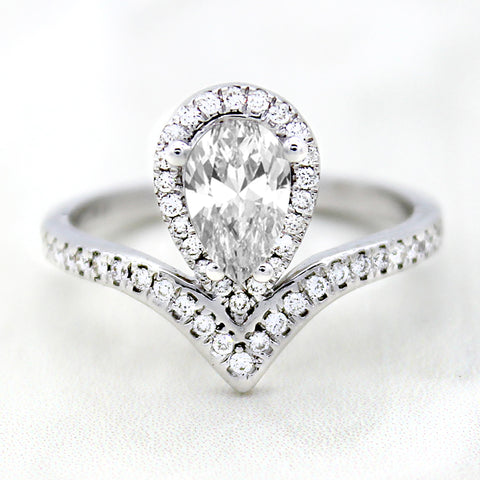 GIA Certified Pear Shape Diamond Modern Engagement Ring
