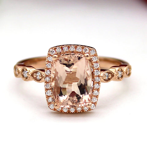 Natural Morganite Halo Engagement Diamond Ring
