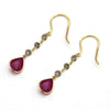 Natural Ruby Chocolate Diamond Dangle Drop Earrings