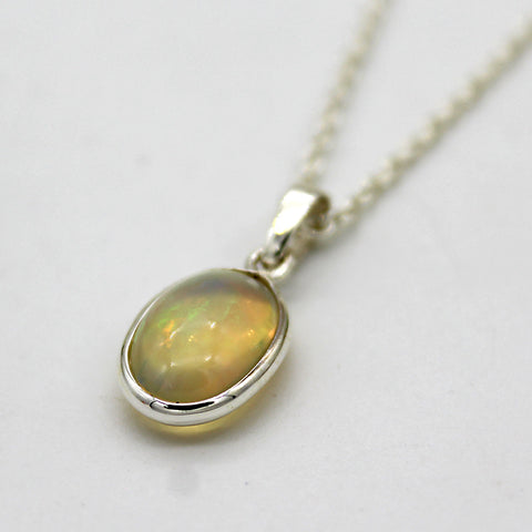 Oval Natural Opal Pendant Necklace