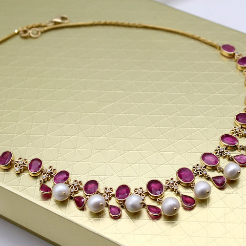 Natural Ruby Diamond Pearl Victorian Necklace 18kt Solid Yellow Gold