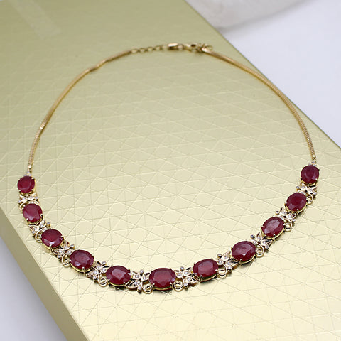 Natural Ruby Diamond Victorian Style Necklace 18kt Solid Yellow Gold Extendable