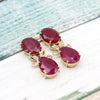 Natural Ruby Diamond Dangle Drop Earrings Crafty 18kt Solid Yellow Gold Earrings