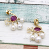 Natural Peacock Ruby Pearl Dangle Drop Earrings Crafty 18kt Solid Yellow Gold