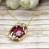 Natural Ruby Art Deco Style Pendant Changeable Emerald 18kt Solid Yellow Gold