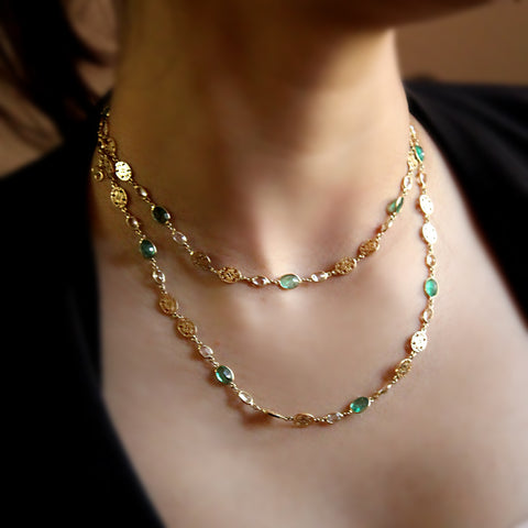 Natural Emerald White Sapphire Long Necklace Filigree 18kt Solid Yellow Gold
