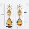 Natural Citrine Double Dangle Drop Diamond 18kt Yellow Gold Earrings