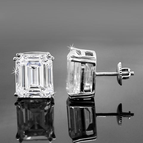 6 CT Emerald Cut Classic Swarovski Diamond Stud 14kt White Gold Earrings
