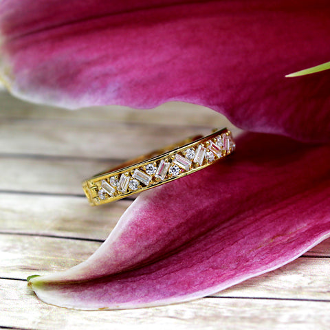 14kt Yellow Gold Baguette Round Diamond Designer Stackable Wedding Band