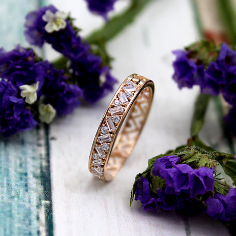 Natural Baguette Round Diamond Designer Stackable Wedding Band 14kt Rose Gold