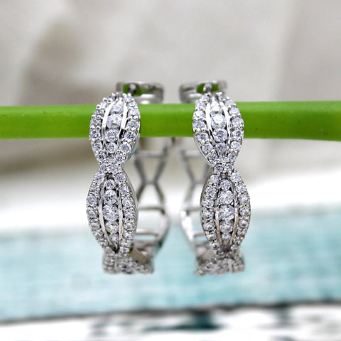 Round Natural Diamond Designer 14kt White Gold Hoop Earrings
