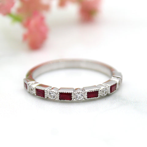 Rectangular Ruby Stackable Eternity Band
