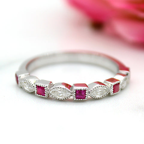 Natural Square Ruby Stackable Eternity Band