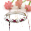 Marquise Natural Ruby Stackable Eternity Band