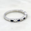 Rectangular Blue Sapphire Stackable Eternity Band