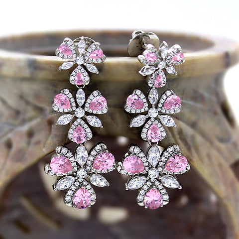 Swarovski Pink CZ Long Dangle luxury Earring