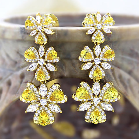 Swarovski Yellow CZ Long Dangle luxury Earring