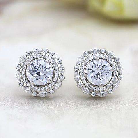 Solitaire Double Halo Diamond Stud Earrings
