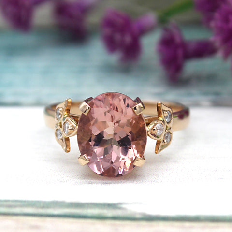 3.40 CT Oval Peach Morganite Diamond Engagement 18kt Solid Rose Gold Ring