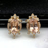 15x10 MM Oval Morganite Victorian 18kt Rose Gold Diamond Cocktail Stud Earrings
