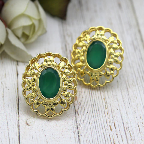 Green Onyx 22kt Gold Plated Silver Stud Designer Filligree Work Studs