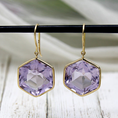 Natural Hexagon Amethyst Dangle Drop 18kt Solid Yellow Gold Earrings