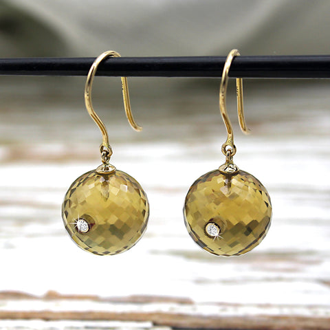 Whiskey Quartz Drop Dangle Diamond Setting 18kt Solid Yellow Gold Earring