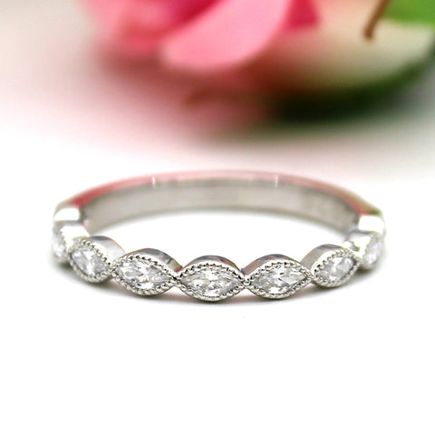 Marquise Eternity Stackable Wedding Band/Ring