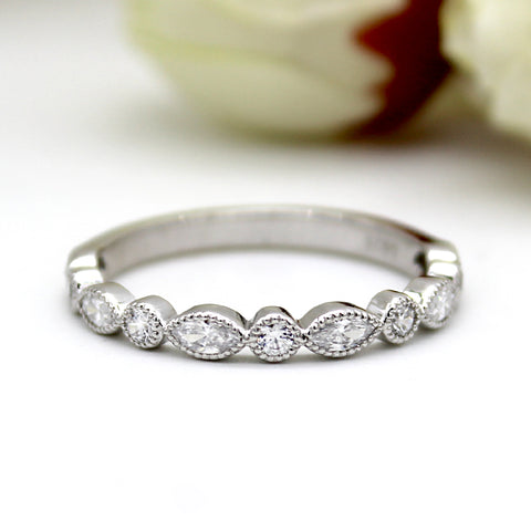 Marquise Round Eternity Stackable Wedding Band/Ring