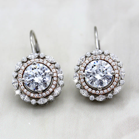 Solitaire Double Halo Dangle Wedding Earrings