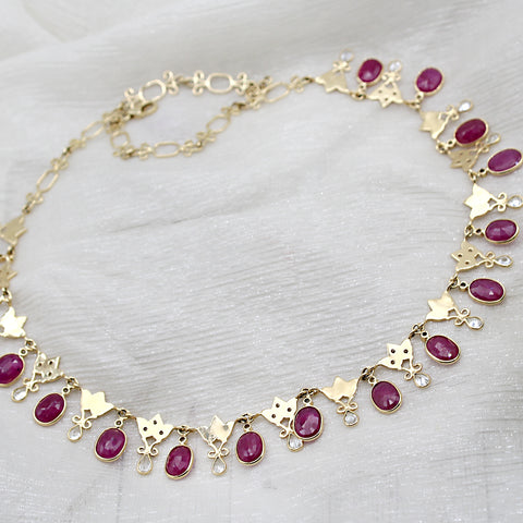 Natural Ruby & White Sapphire Bridal 18k Solid Yellow Gold Necklace