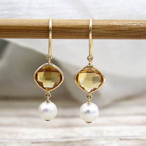 Natural Citrine Double Drop Pearl Earrings