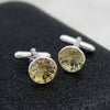 Round Carved Natural Citrine Cufflinks