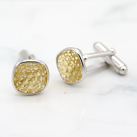 Natural Citrine Cushion Carved Cufflinks