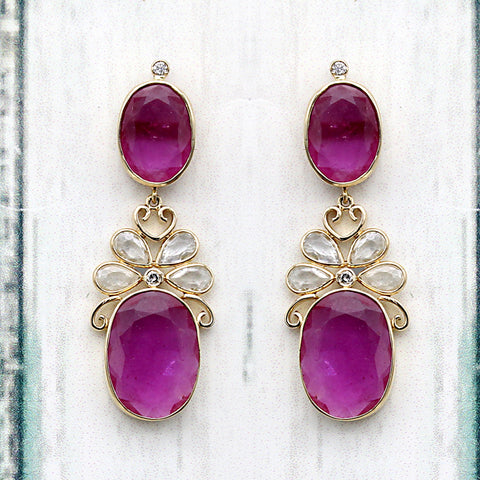 Oval Ruby Double Drop White Sapphire 18kt Yellow Gold Dangle Drop Earrings