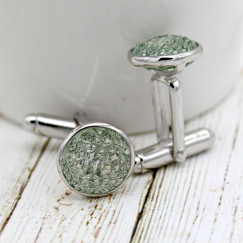 Natural Green Quartz Cufflinks