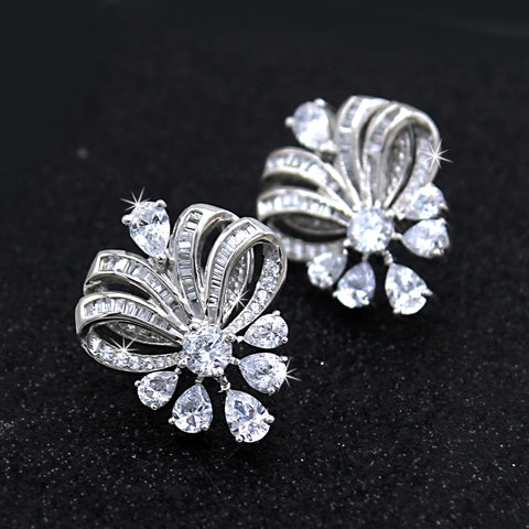 High Finished Luxury Wedding Cocktail Stud Earrings