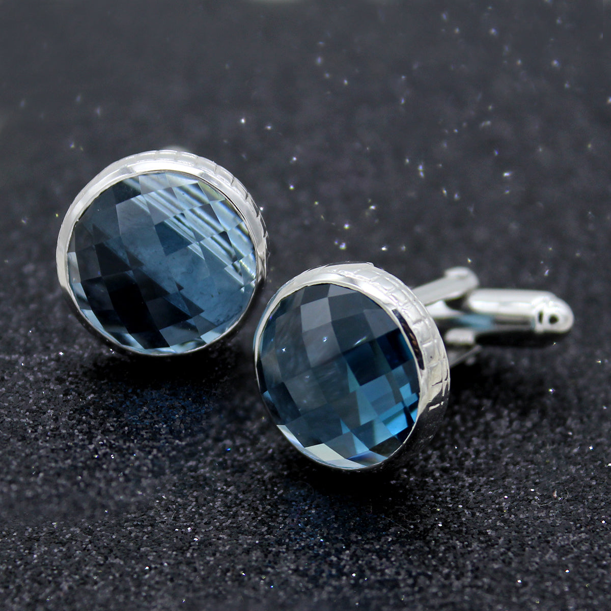 Natural Blue Topaz Cuff link-925 Sterling Silver Cufflink-Cushion Cut Blue Topaz Cufflink-Blue Topaz Cuff Button-Gift For Him-Men/'s Jewelry