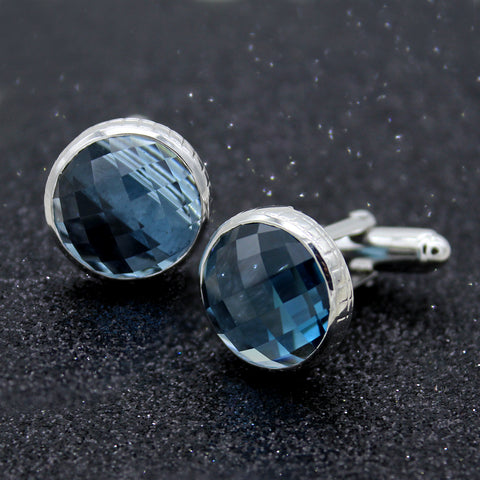 Natural London Blue Topaz Cufflinks