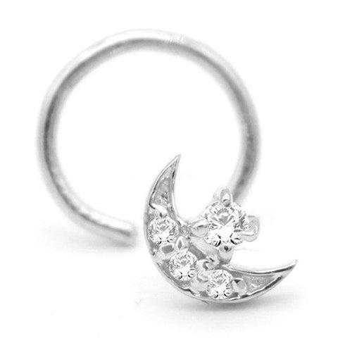Cubic Zirconia Moon Star Nose Stud