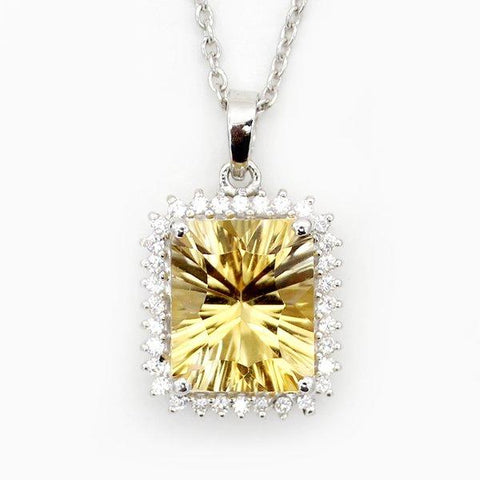 Natural Citrine Fine Pendant With CZ