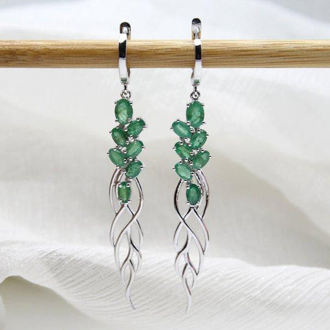 Natural Emerald Long Dangling Earrings