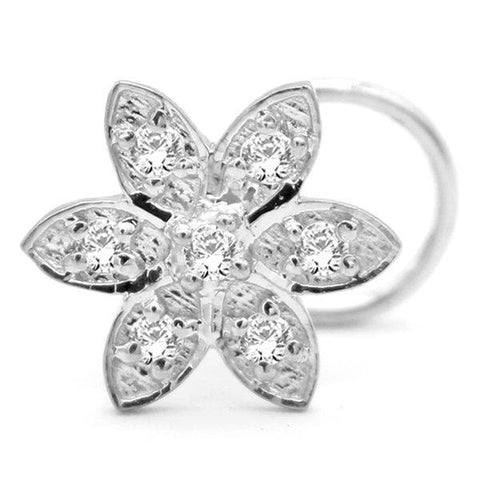 Cubic Zirconia Statement Flower Nose Stud