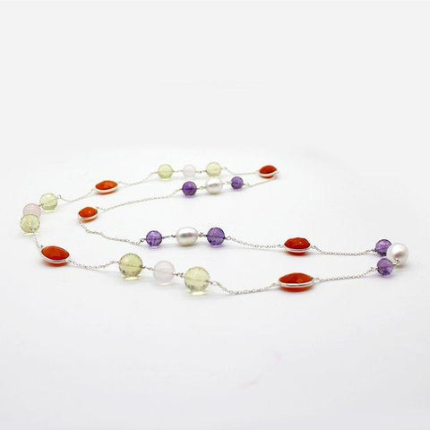 Multi Stone Necklace, Carnelian, lemon Quartz, Rose Quartz, Amethyst