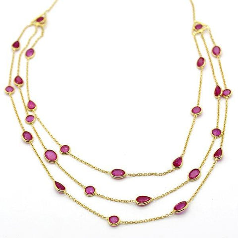 Natural Ruby 3 Layer Fine Statement Necklace