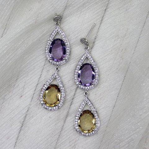 Amethyst and Citrine Double Drop Earrings