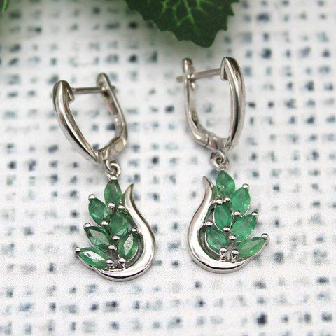 Natural Emerald Leaf Earrings