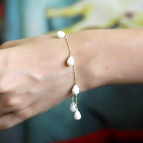 Natural White Pearl Drop Fine Bracelet